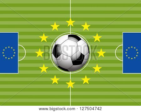 Football Soccer Pitch with European Flags and Ball Background