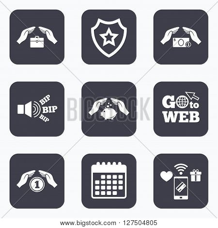 Mobile payments, wifi and calendar icons. Hands insurance icons. Piggy bank moneybox symbol. Money savings insurance signs. Travel luggage and cash coin symbols. Go to web symbol.