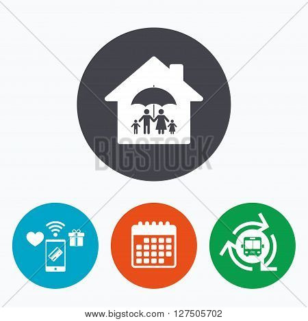 Complete family home insurance sign icon. Umbrella symbol. Mobile payments, calendar and wifi icons. Bus shuttle.