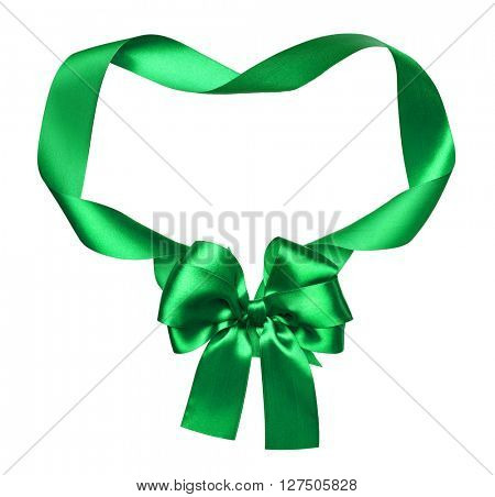 green silk bow and ribbon decoration object on white as frame