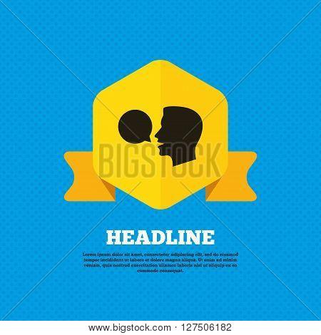 Talk or speak icon. Speech bubble symbol. Human talking sign. Yellow label tag. Circles seamless pattern on back.