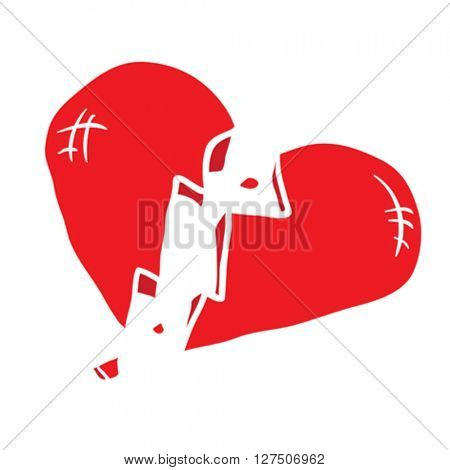broken heart cartoon illustration isolated on white