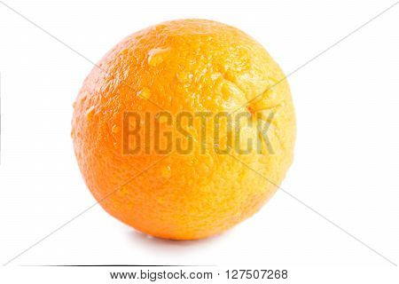 Wet Orange With Drops  Isolated On White Background