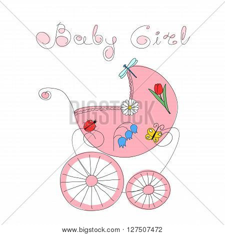 Baby girl arrival card with hand drawn retro styled baby carriage decorated with nature elements and handwritten words Baby Girl, vector illustration