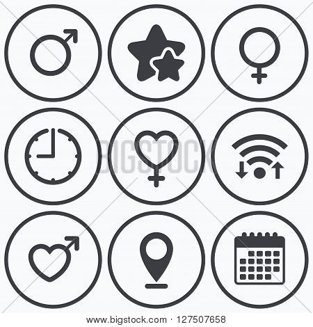 Clock, wifi and stars icons. Male and female sex icons. Man and Woman signs with hearts symbols. Calendar symbol.