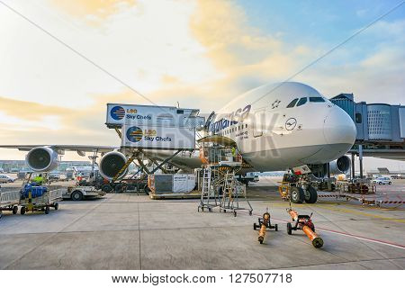 FRANKFURT, GERMANY - CIRCA MARCH 2016: Lufthansa Airbus A380 docked in Frankfurt Airport. Frankfurt Airport is a major international airport located in Frankfurt