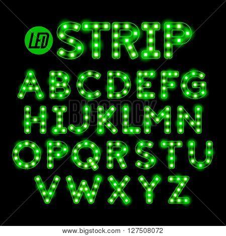 Led ribbon strip light alphabet vector illustration