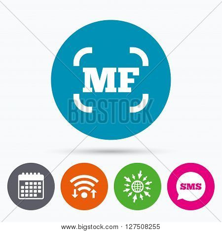Wifi, Sms and calendar icons. Manual focus photo camera sign icon. MF Settings symbol. Go to web globe.