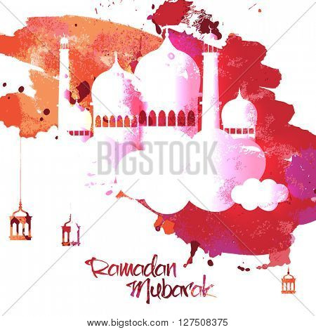 Creative glossy Mosque on abstract background for Holy Month of Muslim Community, Ramadan Mubarak celebration.