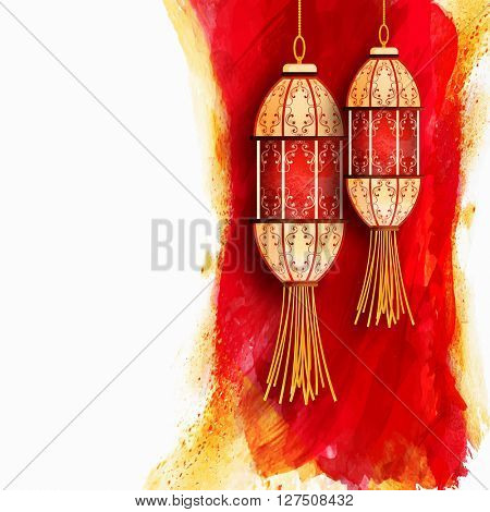 Beautiful traditional hanging lamps on red and yellow paint stroke background for Islamic Festival celebration.