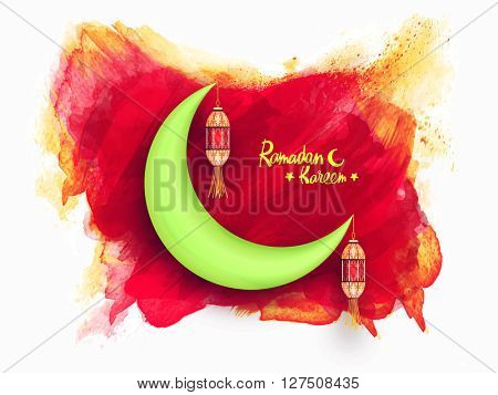 Glossy green crescent moon with hanging lamps on abstract paint stroke background for Holy Month of Fasting, Ramadan Kareem celebration.
