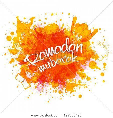 Elegant greeting card design with stylish text Ramadan Mubarak and different islamic elements on colour splash background.