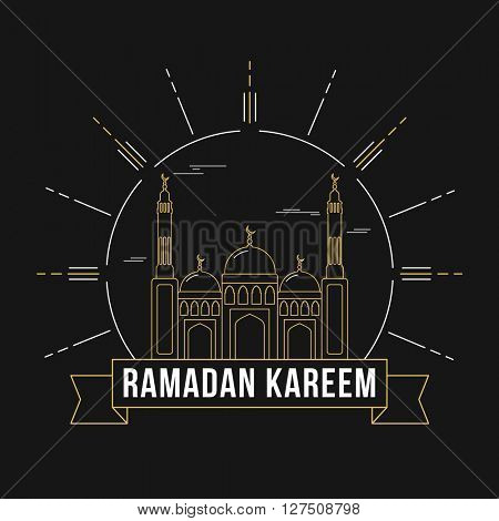 Elegant greeting card design with creative Mosque for Islamic Holy Month of Prayers, Ramadan Kareem celebration.