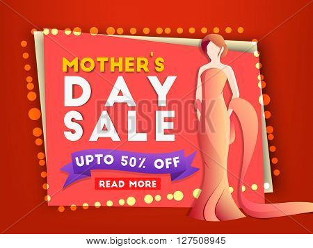 Mother's Day Sale, Creative Sale Poster, Sale Banner, Sale Flyer, Sale Ribbon, Upto 50% Off. Vector illustration.