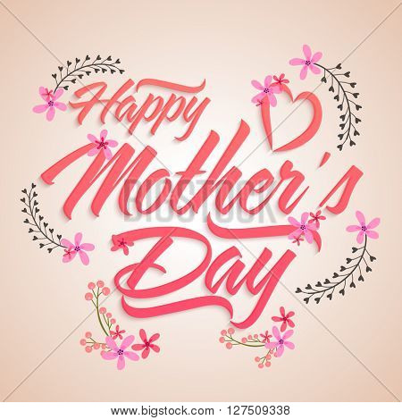 Stylish text Happy Mother's Day with beautiful pink flowers on shiny background.
