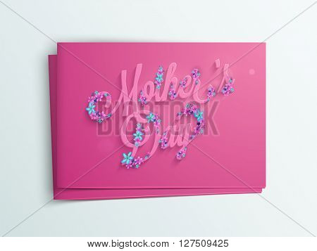 Creative text Mother's Day with beautiful flowers decoration, Glossy pink greeting card design with envelope.