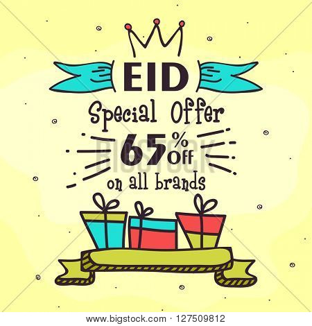 Eid Special Offer Sale, Shiny Sale Background, 65% Off on All Brands for Islamic Festival celebration.