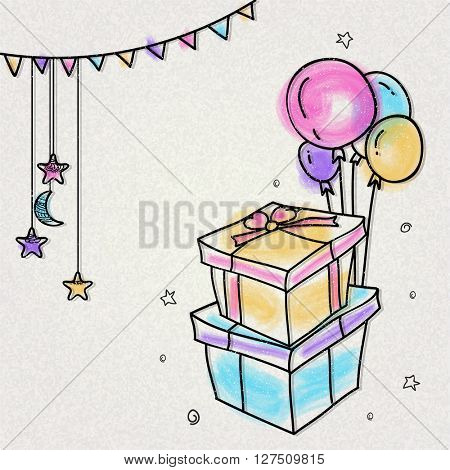 Creative hand drawn greeting card design decorated with colourful gift boxes, balloons, hanging moon and stars for Islamic Festivals celebration.