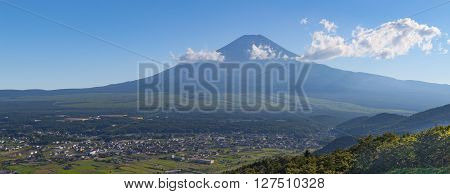 Mountain Fuji and Oshino village in summer season