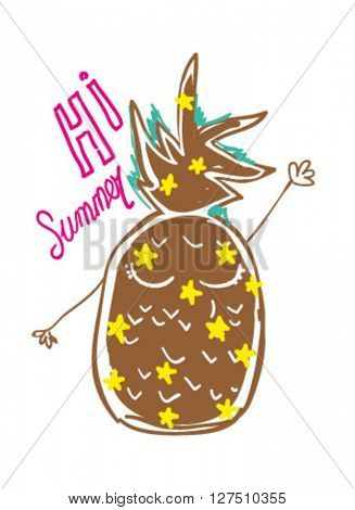 illustration character pineapple , hi summer for apparel