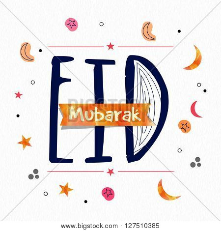 Elegant greeting card design with stylish text Eid Mubarak for Islamic Famous Festival celebration.