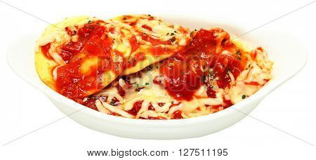 Hot Baked Ravioli with sauce and melted cheese isolated over white.
