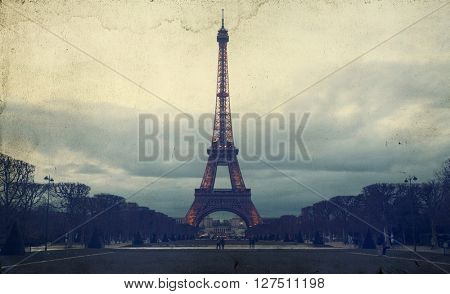 Vintage photo of Eiffel Tower, Paris, France