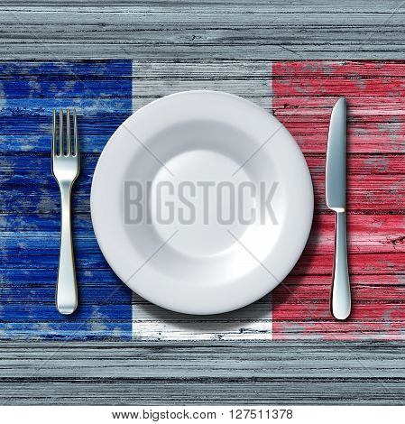 French cuisine food concept as a place setting with knife and fork on an old rustic wood table with a symbol of the flag of France as an icon of traditional mediterranean family eating in Paris with 3D illustration elements.