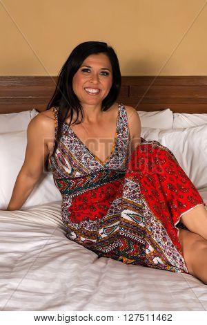 Eurasian Woman In A Print Dress