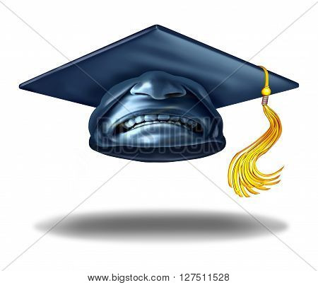 Education failure and horrible teaching symbol as a graduation hat or mortar cap with an expression of disgust as a learning challenge metaphor as a 3D illustration.