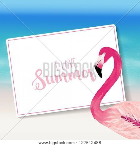 Realistic Sea Background. Tropical Flamingo Bird. Beach Background. Card for Text. Vector