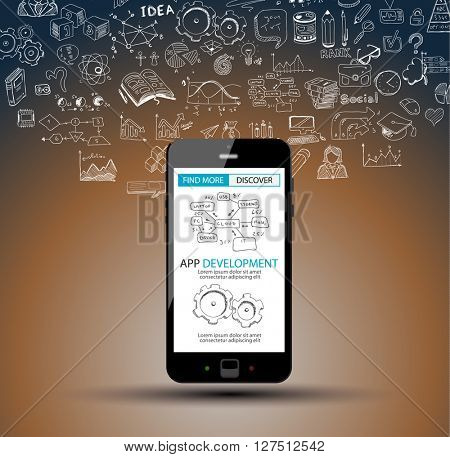 App Development Infpgraphic Concept Background with Doodle design style :user interfaces, UI design,mobiel devices. Modern style illustration for web banners, brochure and flyers.