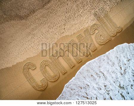 Cornwall written on the beach