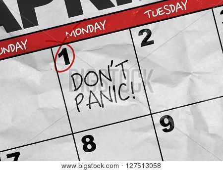Concept image of a Calendar with the text: Don't Panic
