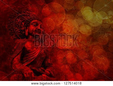 Bronze Buddha Statue Touching Earth Sitting Position with Blurred Textured Red Background
