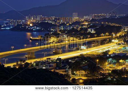 Highway in Hong Kong at night, tuen mun district