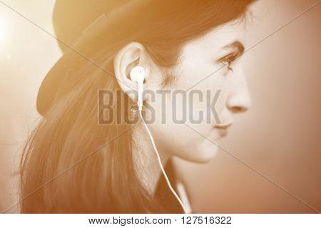 Beautiful Woman Listening Music Trendy Concept