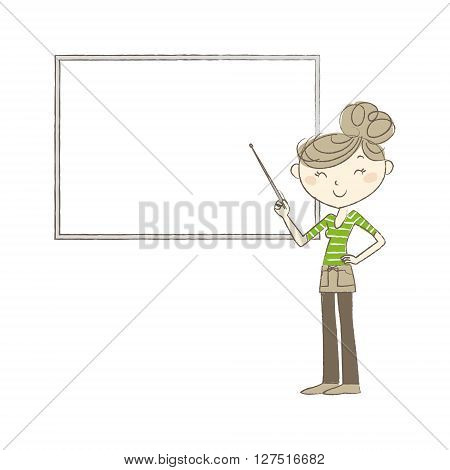 A young woman pointing at whiteboard with a pointer