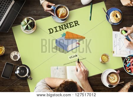 Dinner Cook Book Meal Preparation Concept