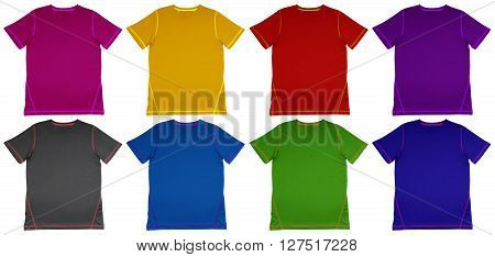 Colorful T-Shirts with seam isolated on white background.