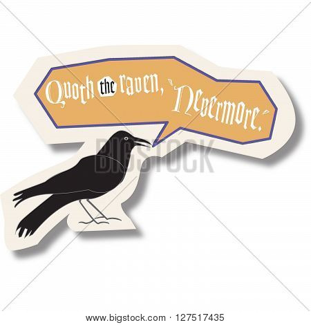 black bird with text bubble saying quoth the raven