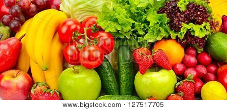 collection fresh fruits and vegetables background