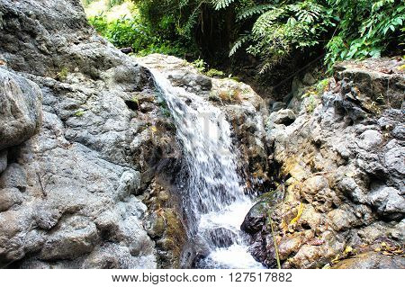 A small waterfall in the wild jungle . Philippines. Palawan Island .