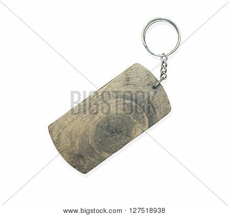 Wooden key ring isolated on white background.