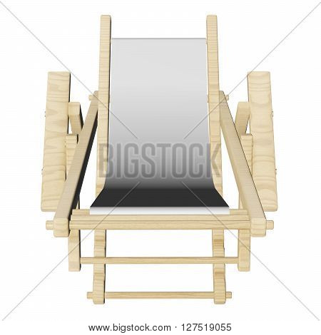 Wooden Beach Deck Chair Isolated On White Background. .