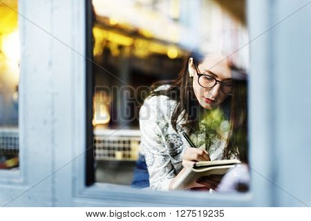 Cafe Casual Leisure Window Writer Lifestyle Idea Concept