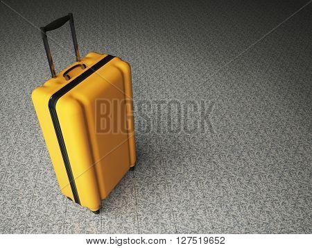 Large Luggage On Stone Floor Background.