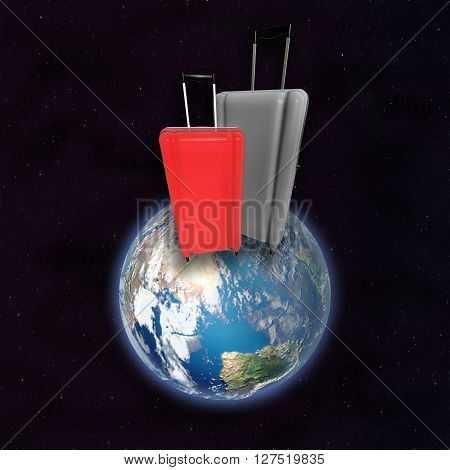Large Luggages On Surface Of Planet Earth.