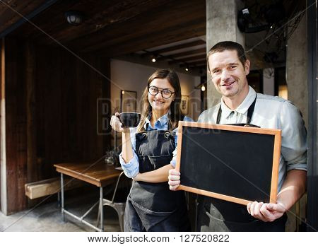 Coffee Shop Cafe Restaurant Blackboard Opening Concept
