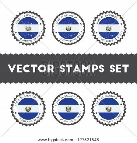 I Love El Salvador Vector Stamps Set. Retro Patriotic Country Flag Badges. National Flags Vintage Ro